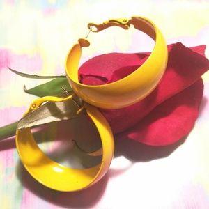 Retro Style Yellow Hoop Metal Earrings